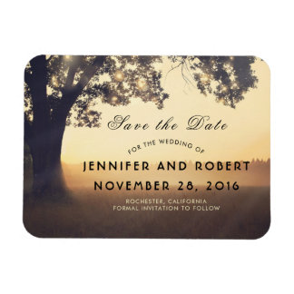Rustic Tree Lights Dreamy Woodland Save the Date Magnet
