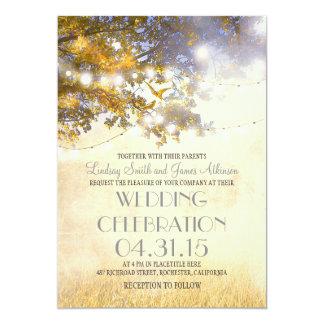 "rustic tree & love birds string lights wedding 5"" x 7"" invitation card"
