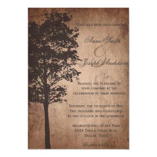 Rustic Tree Vintage Wedding Invitation