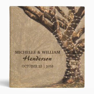 Rustic Tree Wedding Album with String Lights Vinyl Binder