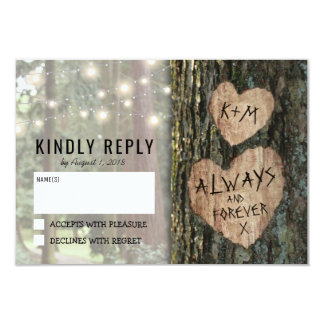 Rustic Tree Wedding RSVP | Country Twinkle Lights Card