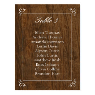 Rustic Tree Wedding Seating Chart Postcard