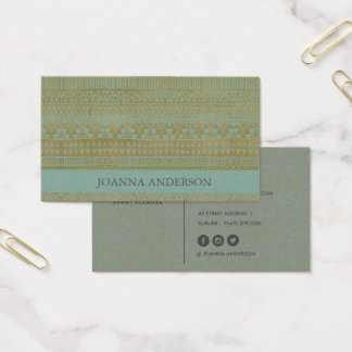 RUSTIC TRIBAL AQUA GOLD BOHO PATTERN PERSONALIZED BUSINESS CARD