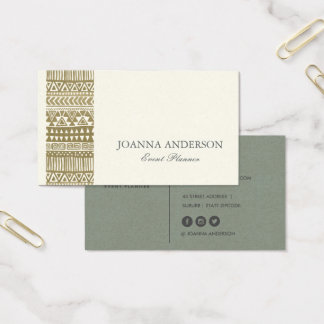 RUSTIC TRIBAL GOLD BOHEMIAN PATTERN PERSONALIZED BUSINESS CARD