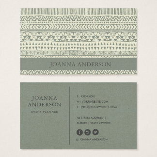 RUSTIC TRIBAL GREY BOHEMIAN PATTERN PERSONALIZED BUSINESS CARD