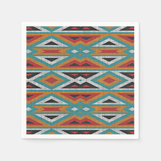 Rustic Tribe Mosaic Native American Indian Pattern Paper Napkins