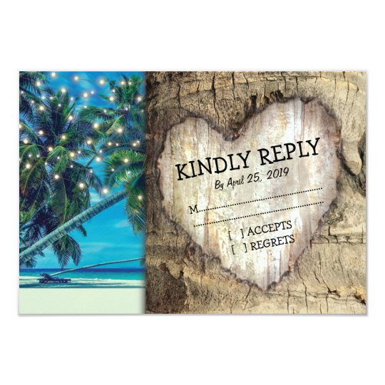 Rustic Tropical Beach Destination Wedding RSVP Card