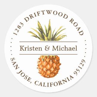 Rustic Tropical Pineapple Luau Return Address Classic Round Sticker