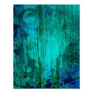 Rustic Turquoise Floral Weathered Wood Grain Poster