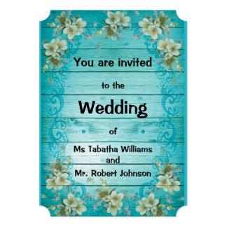 Rustic Turquoise Floral Wedding Invitation
