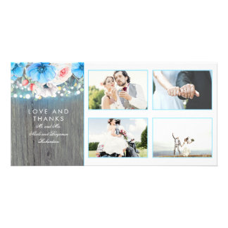 Rustic Turquoise Floral Wedding Thank You Card