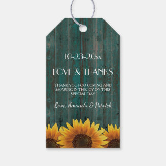 Rustic Turquoise Sunflower Wedding Thank You Tags Pack Of Gift Tags