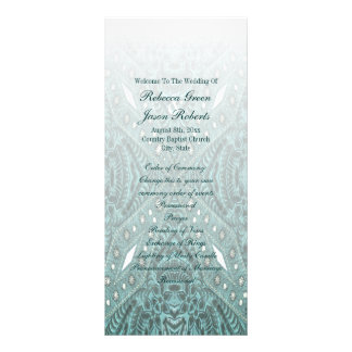 rustic turquoise western country wedding programs full colour rack card