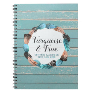 Rustic Turquoise Wood & Feather Wreath Boho Chic Notebook