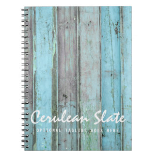 Rustic Turquoise Wood Vintage & Boho Chic Boutique Spiral Notebook