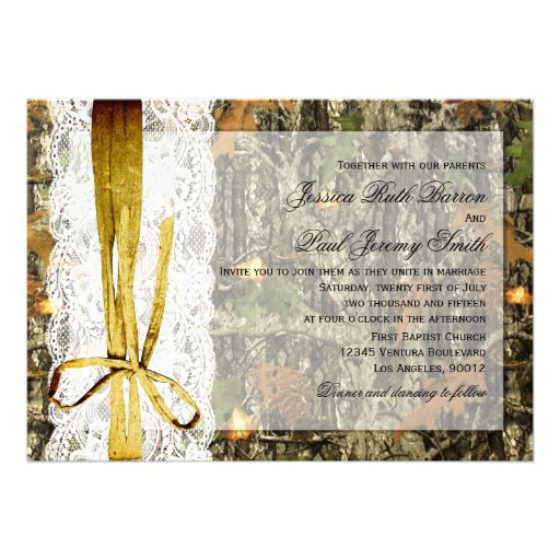 Rustic Twine and Lace Camo Wedding Invitations
