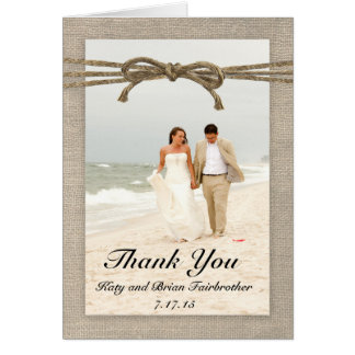 Rustic Twine Bow and Burlap Thank You Card