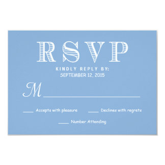 Rustic Typography Wedding Reply Pastel Powder Blue Card