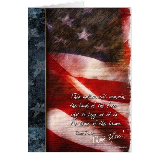 Rustic U.S. Flag Thank You Card