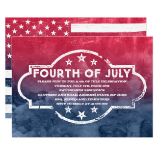 Rustic USA flag 4th of July red blue watercolor Card