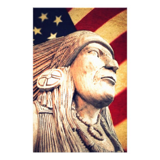 Rustic USA flag patriotic Native American Stationery