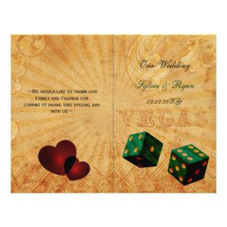 Rustic Vegas Emerald Green folded Wedding program