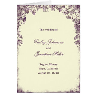 Rustic Vineyard Wedding Program Card - Purple