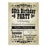 Rustic Vintage 50th Birthday Party Invitation