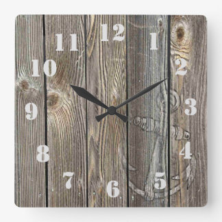 Rustic Vintage Anchor on authentic looking wood Wallclock
