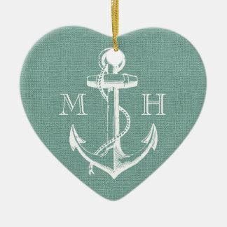 Rustic Vintage Anchor Wedding Monogram Ceramic Heart Ornament