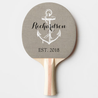 Rustic Vintage Anchor Wedding Monogram Ping Pong Paddle