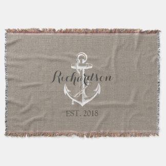 Rustic Vintage Anchor Wedding Monogram Throw