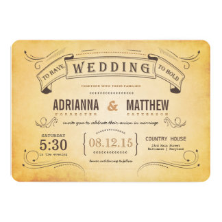 Rustic Vintage Banner Romantic Wedding 5x7 Paper Invitation Card