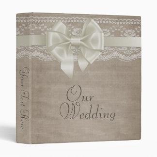 Rustic Vintage Burlap & Lace Wedding Photo Album 3 Ring Binder