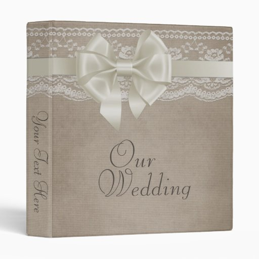 Rustic Vintage Burlap & Lace Wedding Photo Album Vinyl Binders