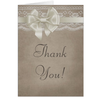Rustic Vintage Burlap & Lace Wedding Thank You Card