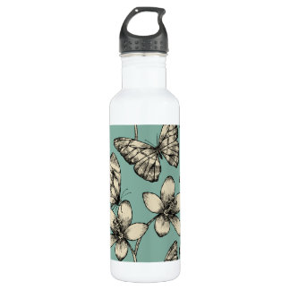 Rustic vintage butterfly and flowers on turquoise 710 ml water bottle