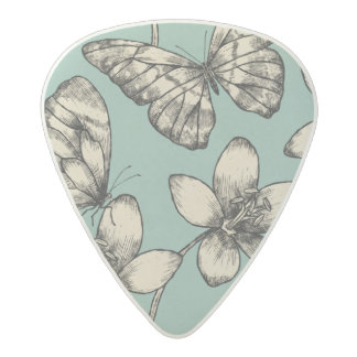 Rustic vintage butterfly and flowers on turquoise acetal guitar pick