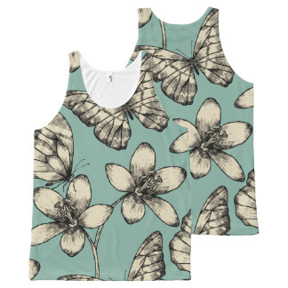 Rustic vintage butterfly and flowers on turquoise All-Over-Print tank top