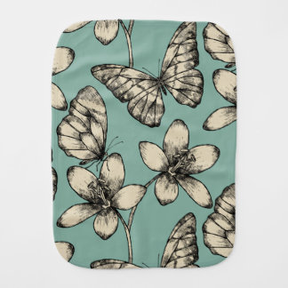 Rustic vintage butterfly and flowers on turquoise burp cloth