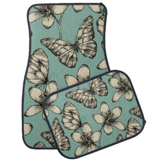 Rustic vintage butterfly and flowers on turquoise car mat