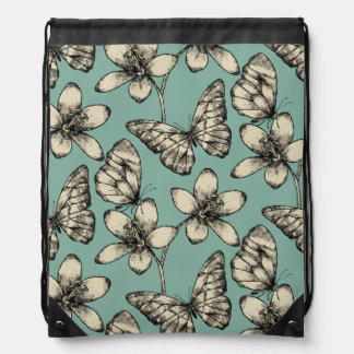 Rustic vintage butterfly and flowers on turquoise drawstring bag