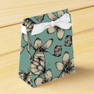 Rustic vintage butterfly and flowers on turquoise favor box