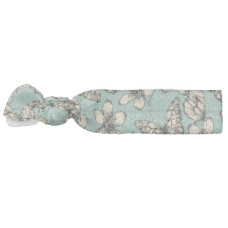 Rustic vintage butterfly and flowers on turquoise hair tie
