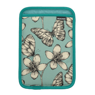 Rustic vintage butterfly and flowers on turquoise iPad mini sleeve