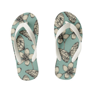 Rustic vintage butterfly and flowers on turquoise kid's flip flops