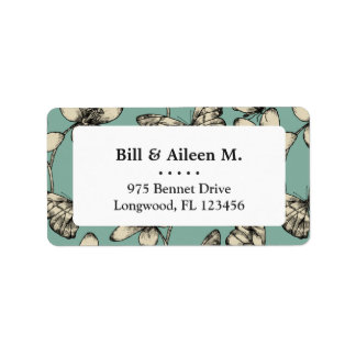 Rustic vintage butterfly and flowers on turquoise label