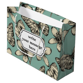 Rustic vintage butterfly and flowers on turquoise large gift bag