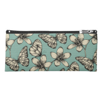 Rustic vintage butterfly and flowers on turquoise pencil case