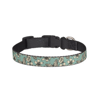 Rustic vintage butterfly and flowers on turquoise pet collar